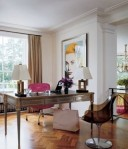 At the London apartment of Jimmy Choo founder Tamara Mellon, mixed vintage with a 1960s Eames chair upholstered in hot-pink leather via ELLE DECOR