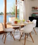 Eames Eiffel Wooden base lounge and dining chairs without arms