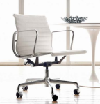 Eames White leather and aluminum Office Chair