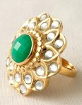 I love costume jewelry like this gold & jade flower ring