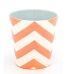 Jill Rosenwald mini planter shaped vase with bright tangerine stripes $83 available @ jillrosenwald.etsy.com