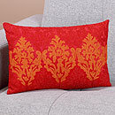 Bright red & orange textile pillow