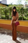 Street Style: Cappuccino flare pants & red accent purse