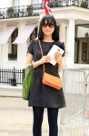 Street Style: I love the Charcoal & vibrant colored purse