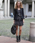 Street Style: Tiered frilly dress & blazer combo for an ultra femme look