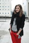 Poland Street Style: I love the red pant & black blazer combo!
