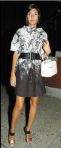 Giovanna Battaglia: Wearing a Marni dress, Prada sandals & green earrings