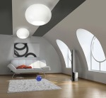 Italian Murano White Glass Ceiling Lamp in Noa Series by Lucente