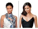 Thandie Newton's unfussy bun nightsweep it all to one side & add a side part